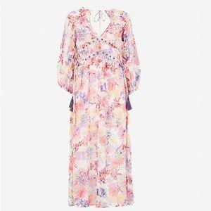 TOPSHOP Floral-print chiffon midi dress